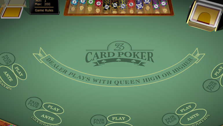 Multi Hand 3 Card Poker Gold